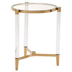 Cecilia Hollywood Regency Gold Round Glass Stainless Steel Side End Table | Kathy Kuo Home