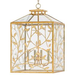 Cedarton Entwined Branches Regency Gold Leaf Lantern | Kathy Kuo Home