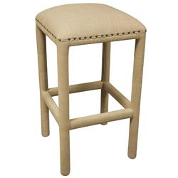 Celestino French Country Beige Cotton Upholstered Barstool | Kathy Kuo Home