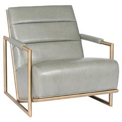 Celia French Blue Satin Brass Leather Armchair | Kathy Kuo Home