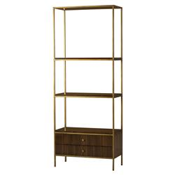 Celia Modern Walnut 2 Drawer Gold Trim Display Bookcase Etagere | Kathy Kuo Home
