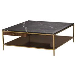 Celia Modern Walnut Gold Trim Marble Top Coffee Table | Kathy Kuo Home