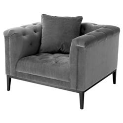 Cesare Modern Classic Granite Grey Tufted Club Chair | Kathy Kuo Home