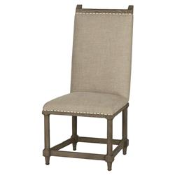 Chablis French Vineyard Beige Linen Side Chair - Pair | Kathy Kuo Home