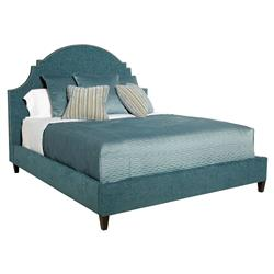 Chambray Global Bazaar Blue Moon Upholstered Queen Bed | Kathy Kuo Home