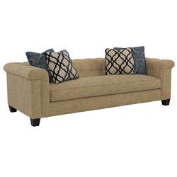 Charis Coastal Beach Low Beige Tufted Sofa | Kathy Kuo Home