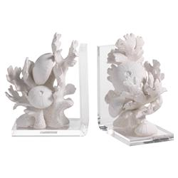 Charlemagne Modern Classic Acrylic Base White Coral Bookends - Set of 2 | Kathy Kuo Home