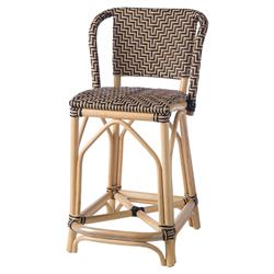 Charlie Woven Black Rattan Outdoor Counter Stool | Kathy Kuo Home