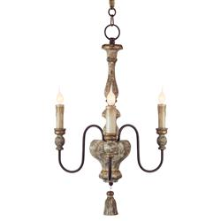 Charlot French Rustic Gold Brown Wood Chandelier | Kathy Kuo Home