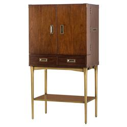 Charlotte Modern Classic Brushed Brass Trim Bar Cabinet | Kathy Kuo Home