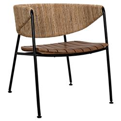 Chase Industrial Loft Brown Rush Sea Grass Black Metal Outdoor Dining Chair | Kathy Kuo Home