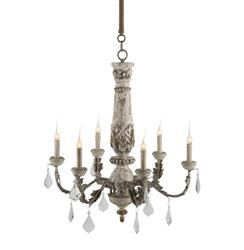 Chateau Bealieu Leaf French Country Grey Chandelier | Kathy Kuo Home