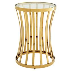 Chilton Modern Classic Gold Glass Round Side Table | Kathy Kuo Home