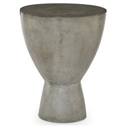 Chino Industrial Loft Grey Stone Drum End Table | Kathy Kuo Home