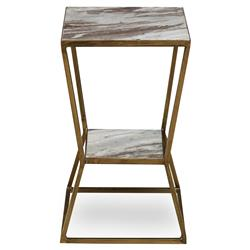 Chisel Modern Angle Hourglass Gold Granite End Table | Kathy Kuo Home