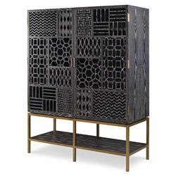 Chita Bazaar Charcoal Ash Patchwork Cabinet | Kathy Kuo Home