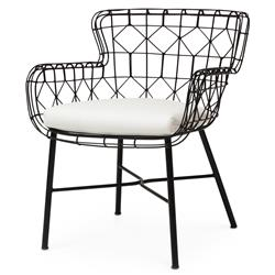 Chloe Modern Classic Salt Black Steel Outdoor Arm Chair | Kathy Kuo Home