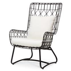 Chloe Modern Classic Salt Black Steel Outdoor Wing Chair | Kathy Kuo Home