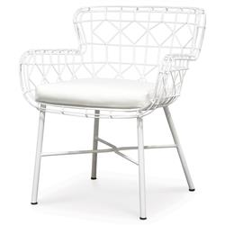 Chloe Modern Classic Salt White Steel Outdoor Arm Chair | Kathy Kuo Home