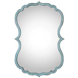 Christiane Global Bazaar Distressed Blue Curved Metal Mirror | Kathy Kuo Home