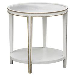 Christine Oly White Mirrored Round Tall Side Table | Kathy Kuo Home