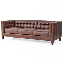 Christopher Rustic Lodge Tufted Straight Back Brown Leather Sofa | Kathy Kuo Home