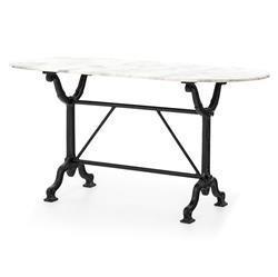 Chronicle Industrial Loft Black Iron White Marble Desk Console Table | Kathy Kuo Home