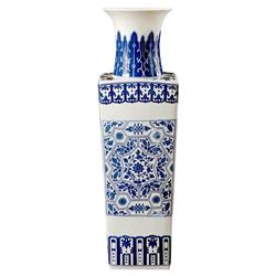 Chukker Global Tall Blue Tile Pattern Square Base Porcelain Vase | Kathy Kuo Home