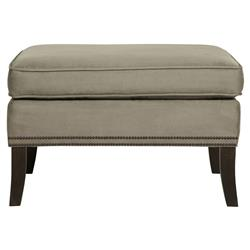 Churchill Classic Soft Brown Upholstered Nailhead Ottoman | Kathy Kuo Home