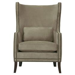 Churchill Classic Soft Brown Upholstered Nailhead Wing Chair | Kathy Kuo Home
