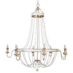 Cindy Coastal Beach Gold Silver White Wood Bead Empire Chandelier | Kathy Kuo Home