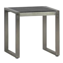 Cirrus Charcoal Grey Steel Outdoor End Table | Kathy Kuo Home