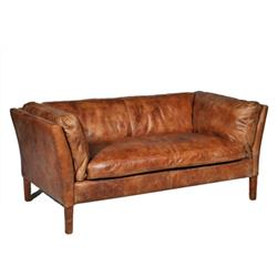Clara Modern Classic Leather Upholstered Loveseat | Kathy Kuo Home