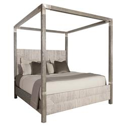 Clarcia Coastal Rustic Grey Abaca Nickel Canopy Bed - King | Kathy Kuo Home