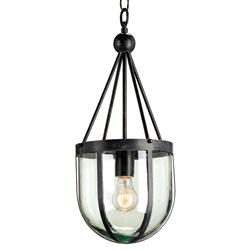 Clarence Distressed Black Industrial Recycled Blown Glass Pendant | Kathy Kuo Home