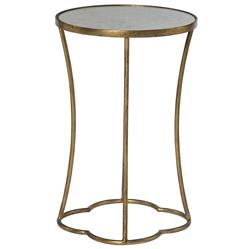 Clarissa Hollywood Regency Antique Mirror Gold Leaf Side Table | Kathy Kuo Home