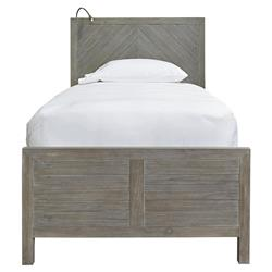 Clarisse Rustic Grey Wood Bed - Twin | Kathy Kuo Home