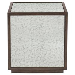 Clarke Modern Classic Antique Mirror Plinth Base Square Side End Table | Kathy Kuo Home