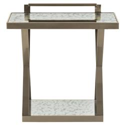 Clarke Modern Classic Antiqued Mirror Steel X Shape Side End Table | Kathy Kuo Home