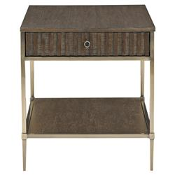 Clarke Modern Classic Burnished Brass Single Drawer Side End Table | Kathy Kuo Home