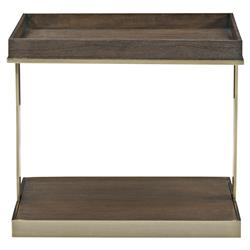 Clarke Modern Classic Dark Wood Burnished Brass Tray Top Side End Table | Kathy Kuo Home