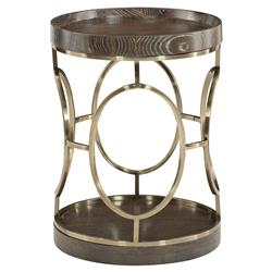Clarke Modern Classic Leather Wrapped Round Top Side End Table | Kathy Kuo Home