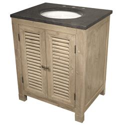 Claudine French Country White Wash Reclaimed Pine Single Bath Vanity Sink | Kathy Kuo Home
