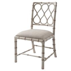 Claydon Global Bazaar Cream Hourglass Trellis Faux Bamboo Dining Side Chair | Kathy Kuo Home