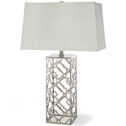 Clayton Hollywood Regency Polished Nickel Table Lamp | Kathy Kuo Home