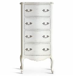 Clementine French Country Antique White Tall Narrow Chest Dresser
