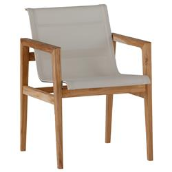 Coast Teak Ivory Canvas Outdoor Armchair | Kathy Kuo Home