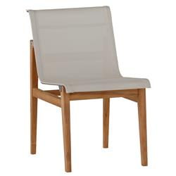 Coast Teak Sling Canvas Outdoor Side Chair | Kathy Kuo Home