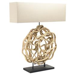 Coastal Beach Natural Entwined Wood Circle Rectangular Table Lamp | Kathy Kuo Home
