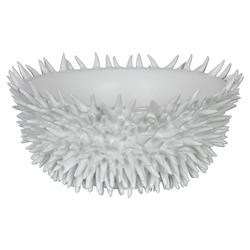 Coastal Beach Sea Urchin Decorative White Bowl | Kathy Kuo Home